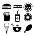 Fast food icon set Burger ice cream vector image