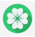 Flat style icon with long shadow four-leaf clover vector image