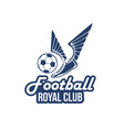 football club icon of soccer ball wings vector image vector image