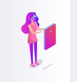 girl in glasses virtual reality cartoon banner vector image