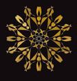 gold abstract circular ornament vector image