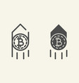 growth bitcoin line and glyph icon arrow up with vector image