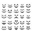 halloween ghost faces set vector image