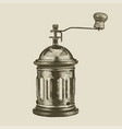 hand drawn vintage coffee grinder vector image