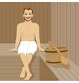 Handsome man having sauna bath in steam room vector image vector image