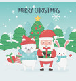 happy merry christmas card with santa claus and vector image vector image