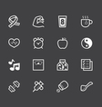 healthy element white icon set 1 on black backgrou vector image vector image