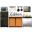 Kitchen full of equipment and furnitures vector image vector image