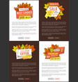 limited time autumn posters discount promo coupons vector image vector image