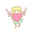 little cartoon flying girl with heart vector image vector image