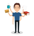 man with many arms multitask graphic vector image