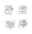 management pixel perfect linear icons set vector image