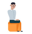 nerd man isolated funny nerd student teenager boy vector image