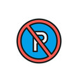 no parking sign flat color line icon isolated on vector image