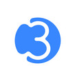 number 3 three font logo blue icon vector image