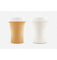 paper coffee cup with plastic caps isolated on vector image