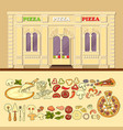 pizzeria and set of cute various pizza ingredient vector image