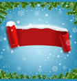 red ribbon with snow isolated blue background vector image vector image