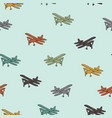 Retro planes in different trendy colors seamless vector image