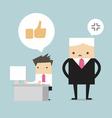 Salary man play social network and boss stand behi vector image