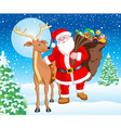 Santa and Reindeer with Gift for Christmas vector image vector image