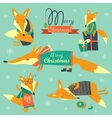 Set of cute foxes vector image vector image