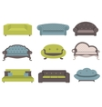 Sets of colorful sofa furniture for an int vector image vector image
