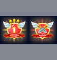 shield with victory and failure banner stars vector image vector image