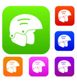 snowboard helmets set collection vector image vector image