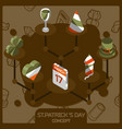 stpatricks day color concept isometric icons vector image vector image