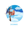 winter landscape with little house tree snow on vector image vector image