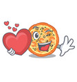 with heart seafood pizza in mascot shape vector image vector image