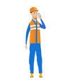 young caucasian builder talking on a mobile phone vector image vector image