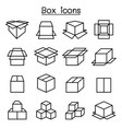box icon set in thin line style vector image