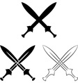 set of crossed swords vector image