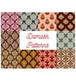 Damask ornate floral seamless pattern set vector image