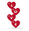 assembled hearts form the word love vector image vector image
