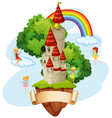 banner design with fairies and castle vector image vector image