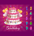 birthday cake and candles with age numbers set vector image