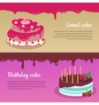 Birthday Cake with Raspberry and Candlesticks Set vector image