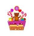 cake on fifth birthday vector image vector image