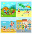 camping and sea beach voyage and sightseeing vector image vector image