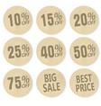 cardboard discount sticker set sale banner price vector image vector image