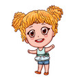cartoon girl in anime style little child with vector image vector image