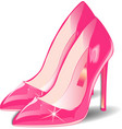 Cartoon pink Women Shoes on white vector image