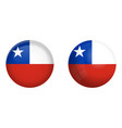 chilean flag under 3d dome button and on glossy vector image vector image