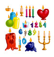 colorful candle set candle flame and wax vector image vector image