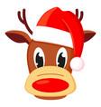 colorful cartoon reindeer head in hat vector image