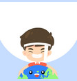 cute boy hugging world and smile vector image vector image