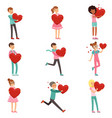 cute enamored people characters set with paper red vector image vector image